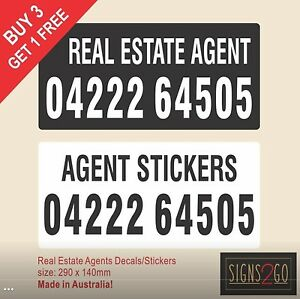 REAL ESTATE AGENTS STICKER Vinyl Selling Sold For Sale Lease Commercial Rentals