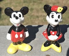 """3"""" Vintage Mickey & Minney Mouse Figurines China Hands Down at Sides Vtg"""