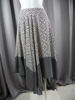 Banana Republic Womens 2 Black/Cream Printed Midi Hi Low Hem A Line Skirt