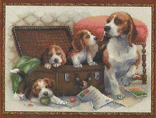 Stickpackung Stickbild sticken 40x30 cm Hundefamilie Hund Hunde Welpen spielen