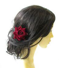 Deep Red Rose Flower Burgundy Hair Pin Vintage Rockabilly Clip Bridal 1950s 1508