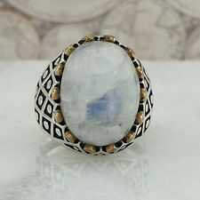925 Sterling Silver Men Ring Cabochon Natural Moonstone Gemstone A Quality