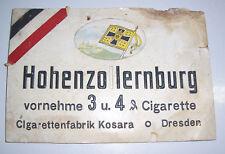 Kleines Reklame Pappschild Hohenzollernburg Cigaretten Kosara Dresden um 1910 !