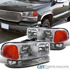For 99-06 GMC Sierra Yukon Denali XL Chrome Clear Headligths+Clear Bumper Lamps