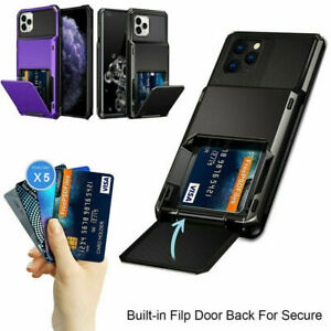 For iPhone 12 11 Pro Max XR 7 8 Plus SE Wallet Card Slot Holder Armor Case Cover