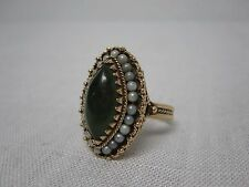 Pearl Cocktail Ring Size 6 1/4 Stunning Vintage 14K Yellow Gold Jade