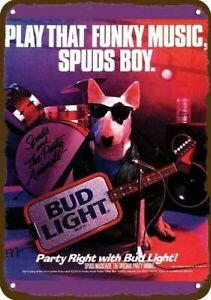 1987 BUD LIGHT BEER BUDWEISER & SPUDS MACKENZIE Vintage Look REPLICA METAL SIGN