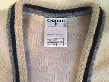 Pristine 100% cashmere CHANEL open cardigan jacket cream ivory tipped M 38