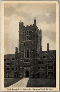 "Vintage 1941 DUKE UNIVERSITY Postcard ""Clock Tower"" Durham North Carolina Cancel"