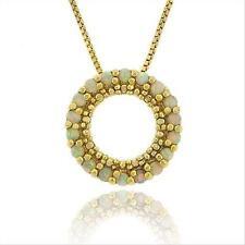 18k Gold Vermeil & Lab Created Opal Eternity Circle Pendant