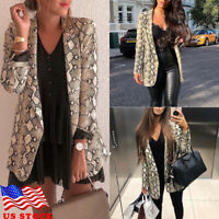 US Women Lady Casual Snakeskin Slim Long Sleeve Suit Blazer Coat Jacket Outwear