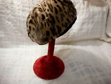 Leopard Faux Fur Beret Hat Vintage Small Union Made Label Free Usa Shipping