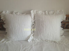 Set of 2 ! Shabby Pre washed 100% Linen Ruffle Euro Sham Bedding Pillow Cases