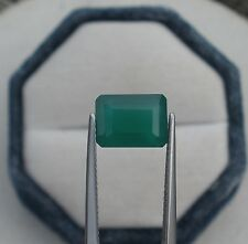 Green Agate Emerald Cushion Loose Natural Gem 10.3 x 7.5mm