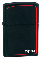 Zippo Windproof Black Matte Lighter With Logo & Border, 218ZB, New In Box
