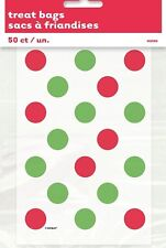 50 Red Green Dots Favours Candy Cane Treat Loot Lolly Bags Christmas Party Birth