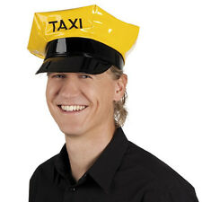 Yellow Taxi Driver Hat Cab Cap Costume City Cabbie Vinyl Adult Chauffeur