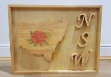 100% Handmade NSW Map Waratah Flower Wooden Wall Art Framed Picture Frame