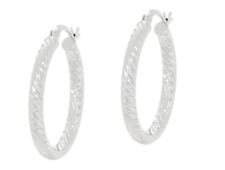 "Sterling Silver 1"" Diamond Cut Hoop Earrings - NEW *Free Shipping*"