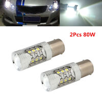 2Pcs 80W 1156 6000K BA15S White Car LED DRL Headlight Driving Fog Lamp Bulbs