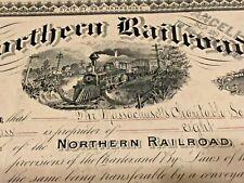 1898 Northern Railroad (New Hampshire) NH Stock Certificate Fantastic Train Pic!