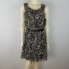 AB Studio sleeveless elastic waist mini leopard print dress size S