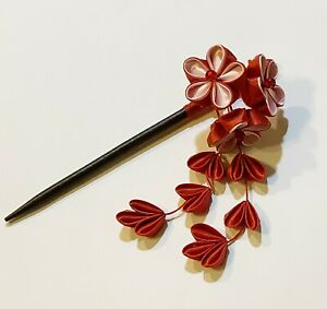 Red and Black Kanzashi Hair Ornament Ethical Make! Facinator with Bamboo and Flowers