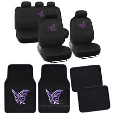 Purple Butterfly Design Car Seat Covers & Floor Mats - Full Interior Set - 13 Pc