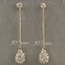 EARRINGS STUD 9K GF 9CT SOLID ROSE GOLD MADE WITH SWAROVSKI CRYSTAL DANGLE