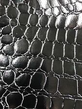 Vinyl fabric Black Shiny Faux Crocodile Embossed 3D Scales-Faux Leather-The Yard