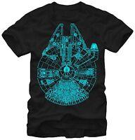 Star Wars Millennium Falcon Blue Outline Black Men's T-Shirt New