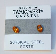 6mm Small Orange Crystal Oval Stud Earrings Made with SWAROVSKI ELEMENTS Gift