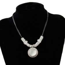 Women Temperment Round Opal Gem Pandents Leather Rope Chain Choker Necklace Gift