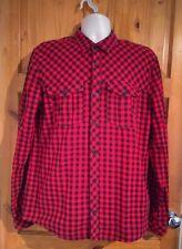 H&M rosso nero verificare Lunga Camicia Di Cotone Casual Large uomo