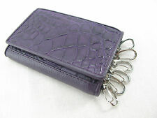 Genuine Crocodile Skin Keychains Key Holder Ring Trifold Wallet Violet Free Ship