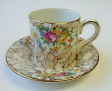 BCM LORD NELSON WARE CUP AND SAUCER 2528 Floral Sprays on  Gold Chintz