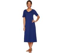 Denim & Co. Essentials Short Sleeve Midi Length Dress Size S Bright Navy Color