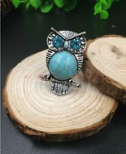 HOT Delicate design Tibet silver carved animal owl nlay turquoise adjusted ring