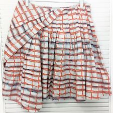 ANTHROPOLOGIE Maeve Imprecise Pleated Graph Skirt Asymmetrical Cotton Unlined 6