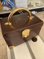 Vintage Koret Brown  Leather Handbag Purse Hard Case Box Mirror Calf Skin Rare