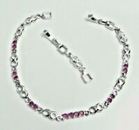 bracelet white gold plated chain simulated red gemstone women girl link