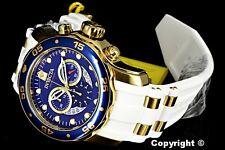 Invicta 48mm Pro Diver Scuba Blue Dial 18K GP Case Chronograph White Strap Watch