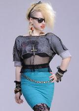 Ladies 80s Madonna Style Black Mesh Top
