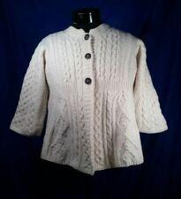 Kilronan Knitwear Sweater 3/4 Sleeve Fisherman Knit Cream Button Women Large