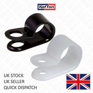 P Clips Black White Nylon Fasteners Car Brake Pipe Wire Plastic Cable Clamp Hose