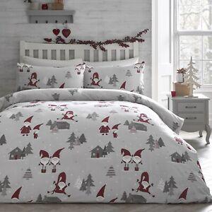 Cute Gonks Super King Duvet Quilt Cover Xmas Christmas Bedding Bed Set Grey Red