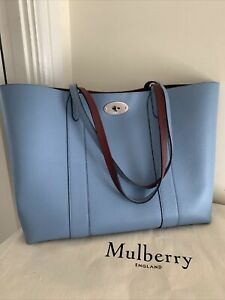 Mulberry Bayswater Tote Blue With Oxblood Suede Lining