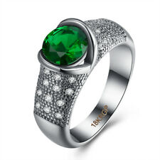 White Gold Plated Lady Ring Jewelry Fashion Green Round Cubic Zirconia 18K