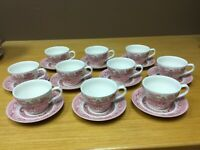 England Churchill Red Willow Cups & Saucers (10 Sets) - Excellent