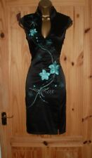 Jane Norman black turquoise satin oriental pencil wiggle party dress size 10 12